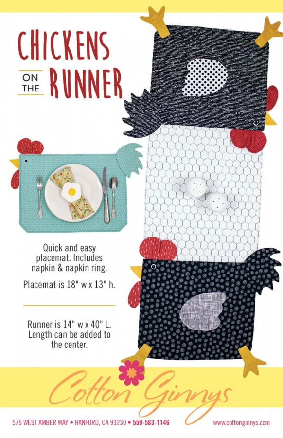 Chickens on the Runner  - table runner and place mat sewing pattern from Cotton Ginnys