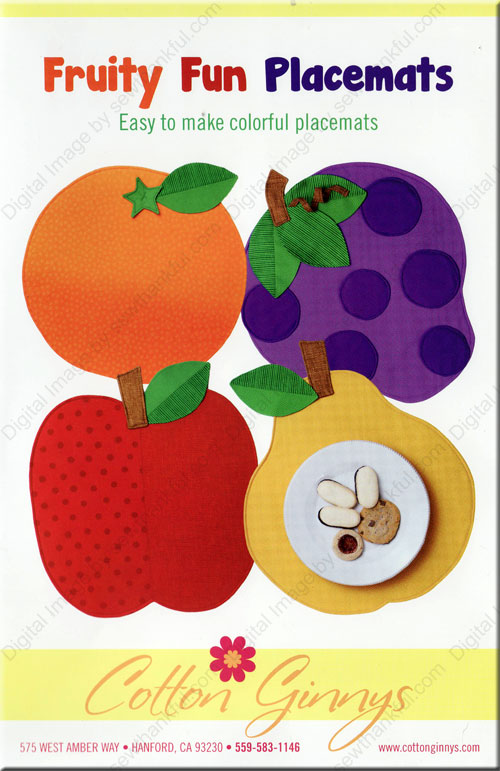 Fruity Fun Placemats sewing pattern from Cotton Ginnys