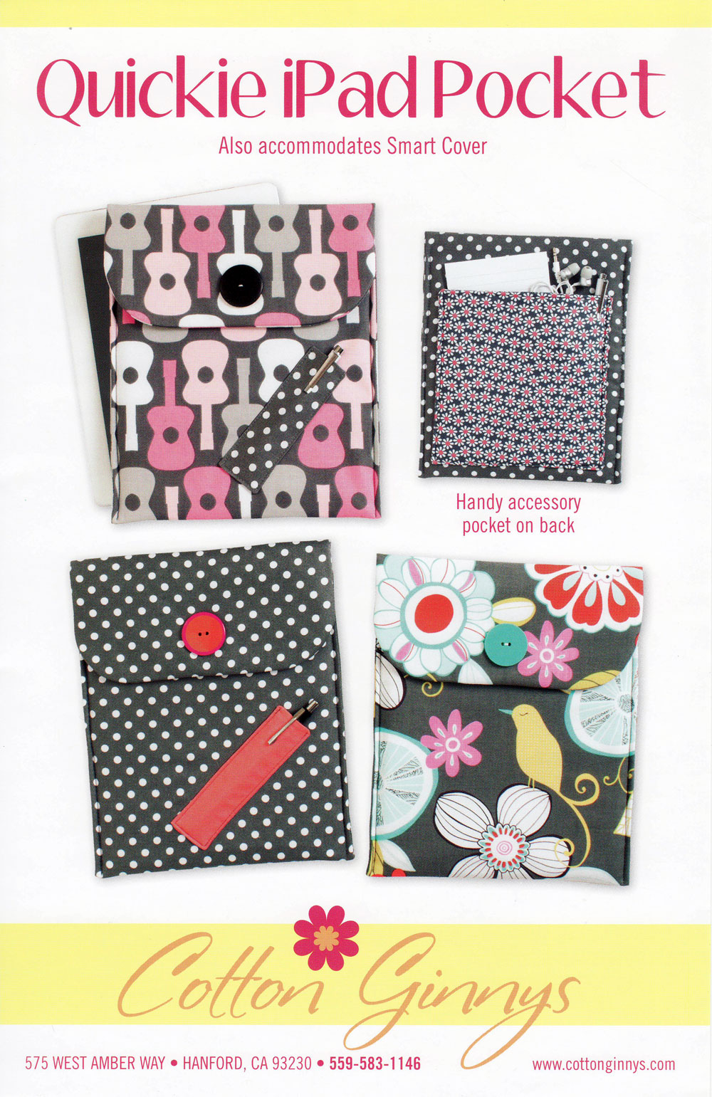 Quickie IPad Pocket sewing pattern from Cotton Ginnys