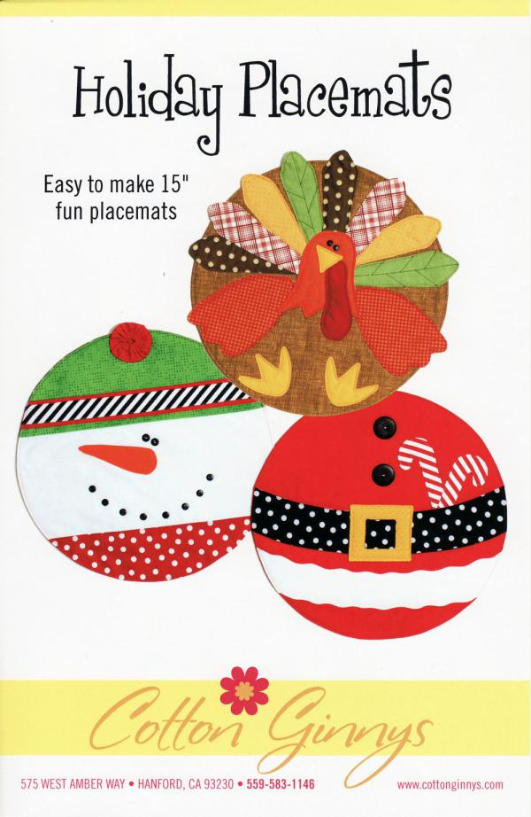 Holiday Placemats sewing pattern from Cotton Ginnys