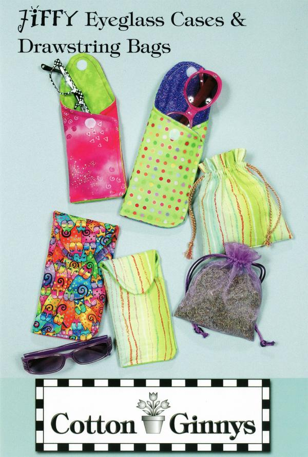Jiffy Eyeglass Cases & Drawstring bags pattern from Cotton Ginnys
