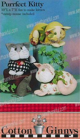 Purrfect Kitty stuffed kitty + catnip mouse pattern from Cotton Ginnys