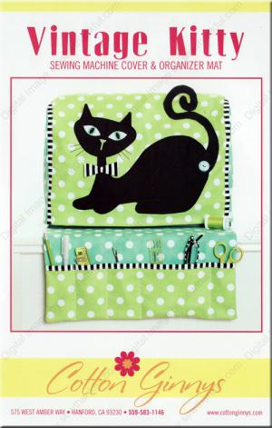 Vintage Kitty Sewing Machine Cover & Organizer Mat sewing pattern from Cotton Ginnys