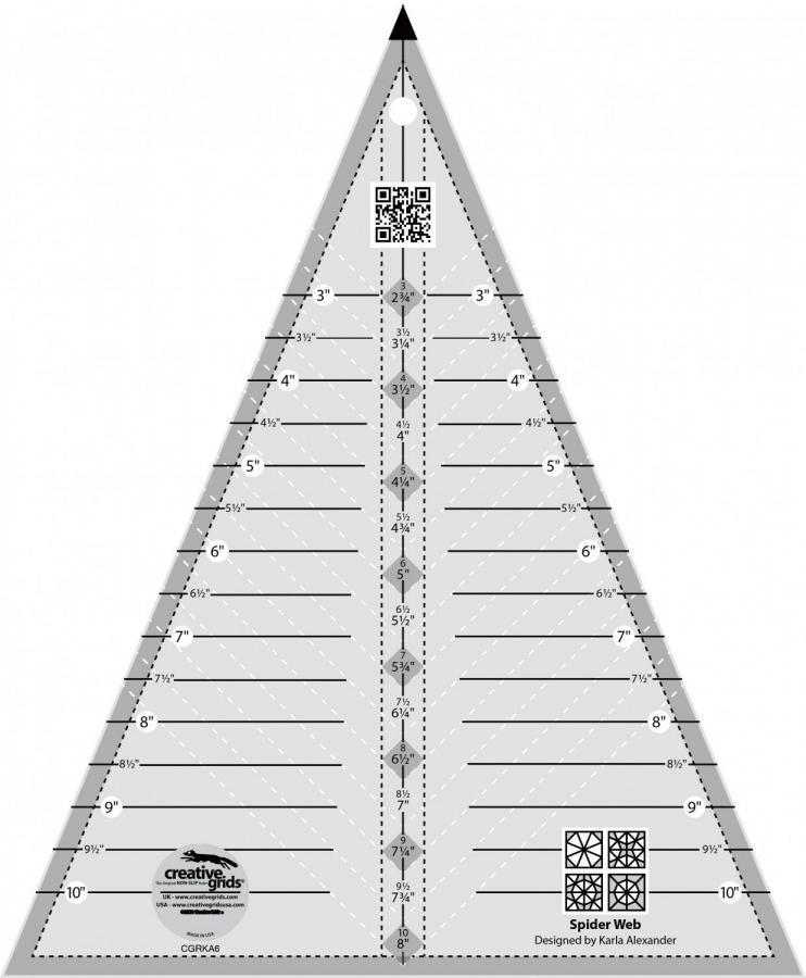 Creative Grids #CGRKA6 Spider Web quilt ruler