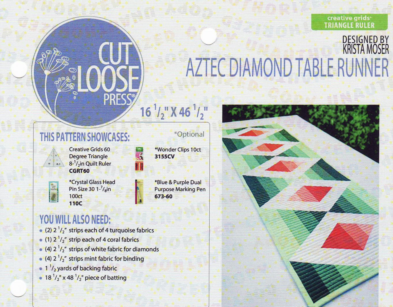 Aztec Diamond Table Runner sewing pattern Cut Loose Press