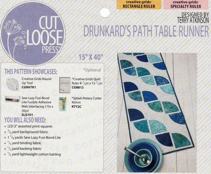 INVENTORY REDUCTION...Drunkard's Path Table Runner sewing pattern Cut Loose Press
