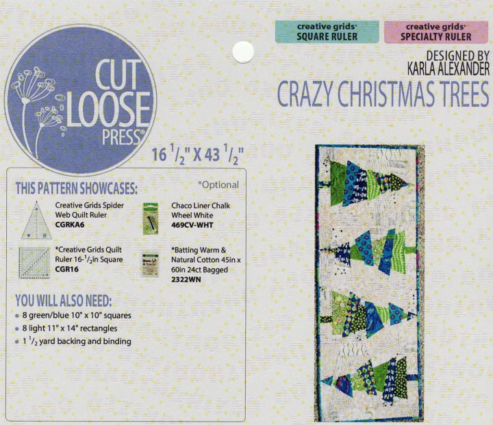 Crazy Christmas Trees Table Runner sewing pattern Cut Loose Press
