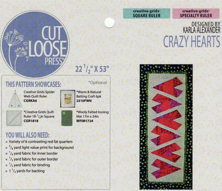 Crazy Hearts Table Runner sewing pattern Cut Loose Press
