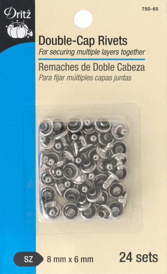 Double-Cap Rivets from Dritz - Nickle 8mm x 6mm 24 sets