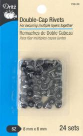 Double-Cap-Rivets-GunMetal-8mm-x-6mm-from-dritz-front