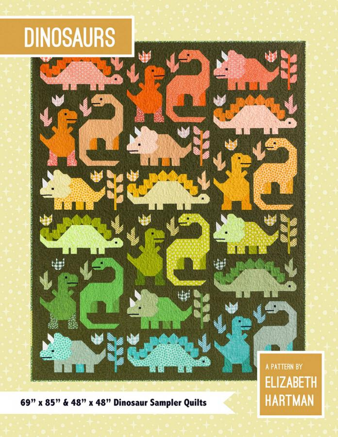 Dinosaurs quilt sewing pattern by Elizabeth Hartman