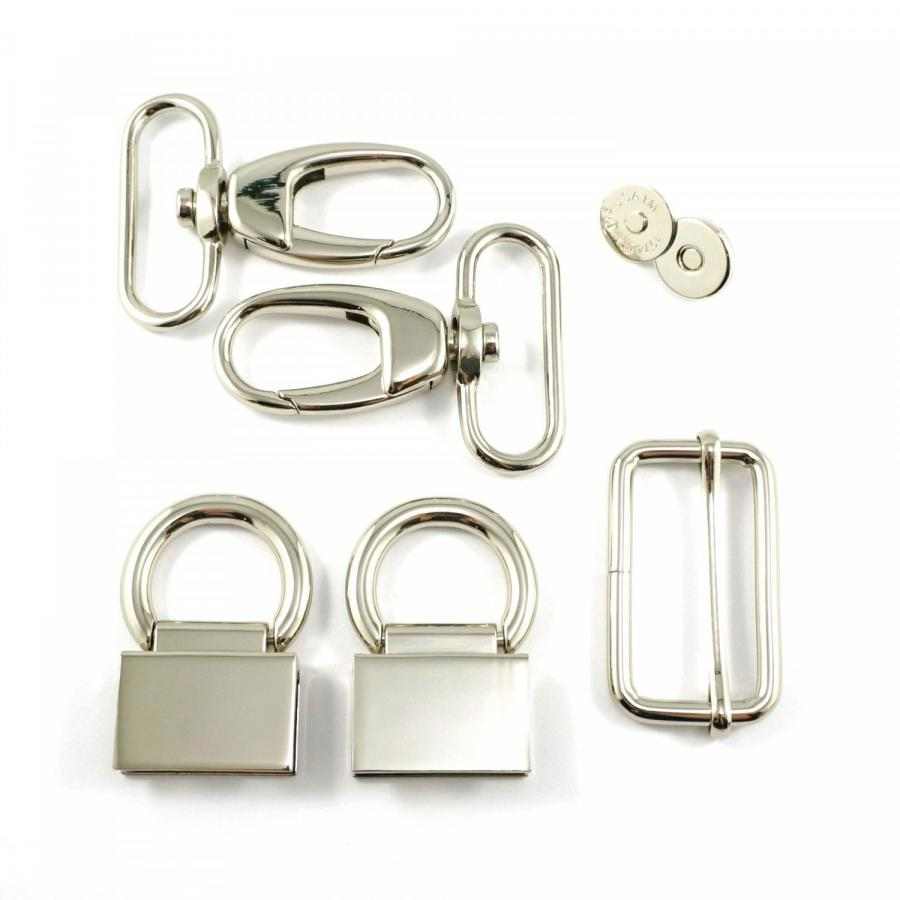 Double Flip Shoulder Bag Hardware Kit - Nickel from Emmaline Bags