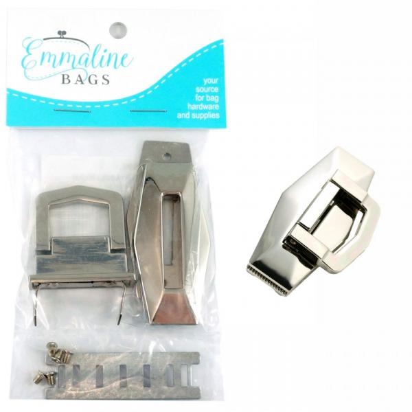 Large Flip Lock - Nickel from Emmaline Bags