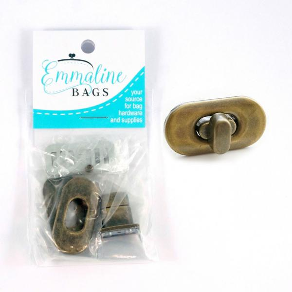 Small Turn Lock - Antique Brass from Emmaline Bags