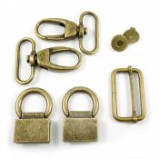 Double Flip Shoulder Bag Hardware Kit - Antique Brass from Emmaline Bags