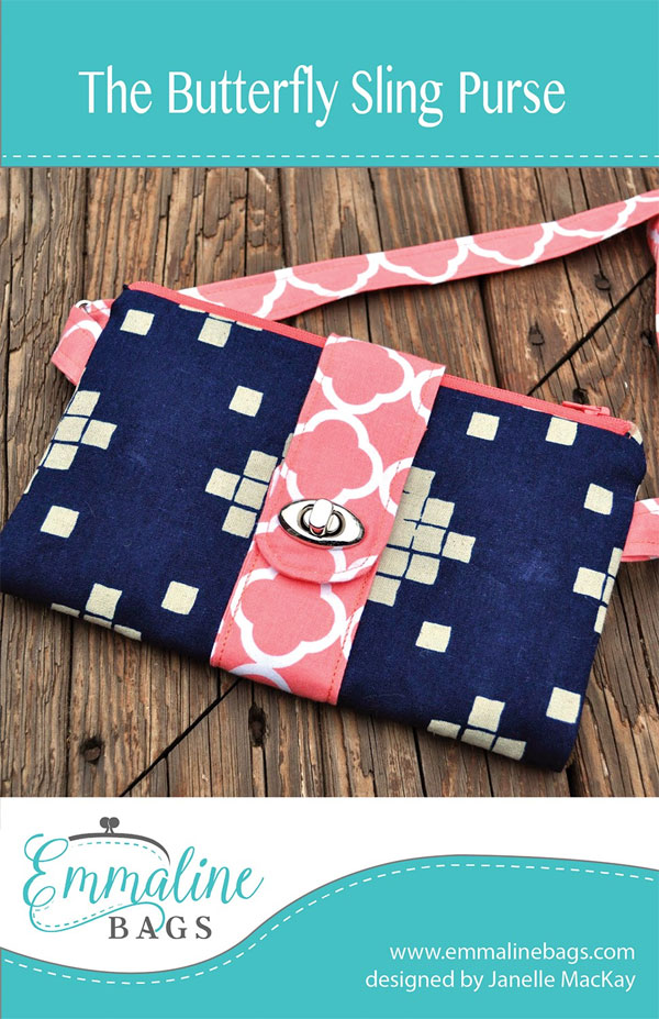 The Butterfly Sling Purse sewing pattern from Emmaline Bags