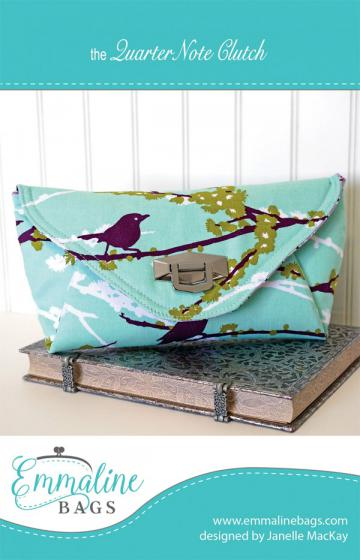 Quarter Note Clutch sewing pattern from Emmaline Bags