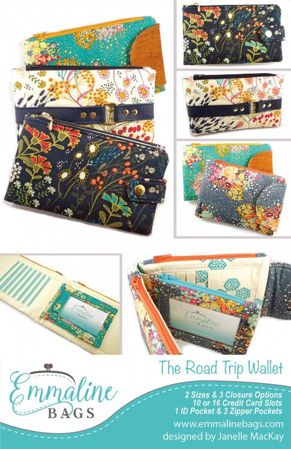 The Road Trip Wallet sewing pattern from Emmaline Bags