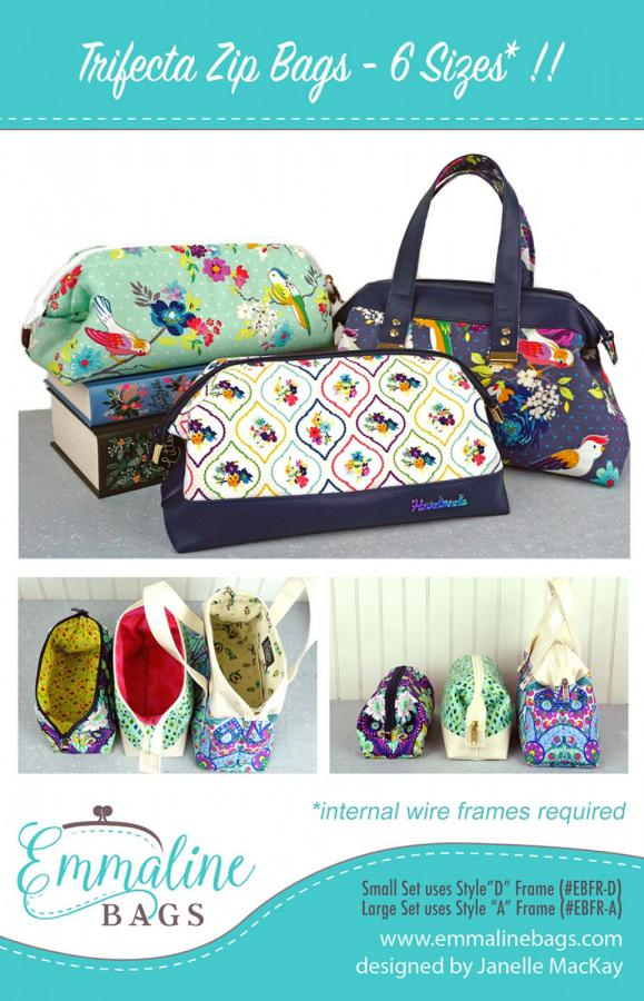 Trifecta Zip Bags sewing pattern from Emmaline Bags