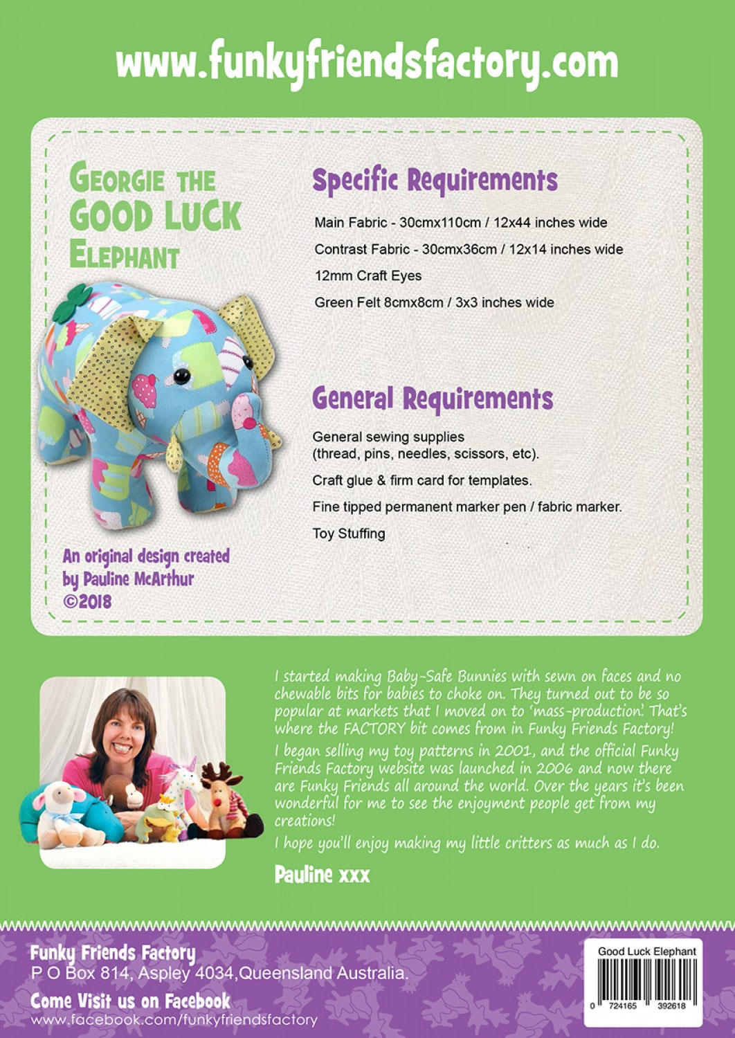 Georgie-the-good-luck-elephant-sewing-pattern-Funky-Friends-Factory-back