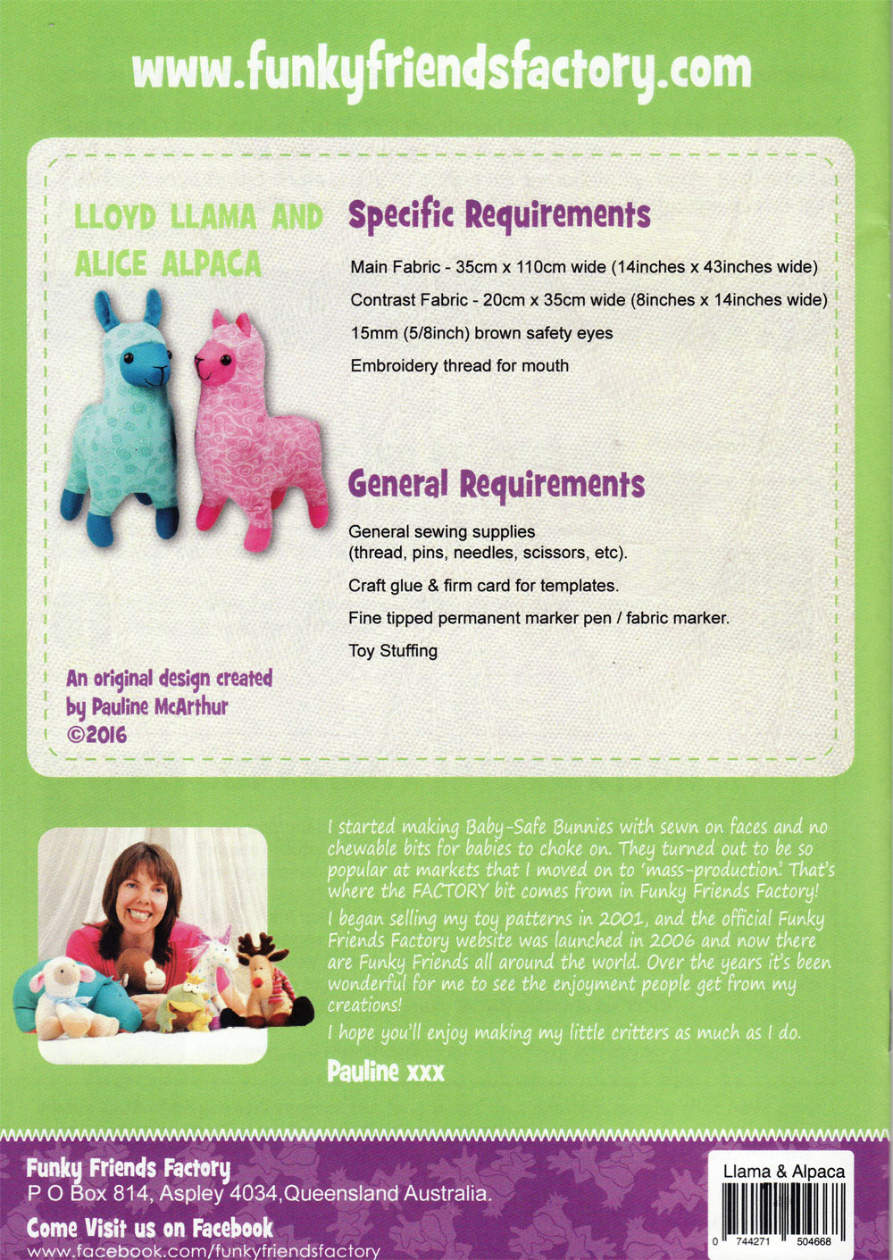 Lloyd-Llama-and-Alice-Alpaca-sewing-pattern-Funky-Friends-Factory-back