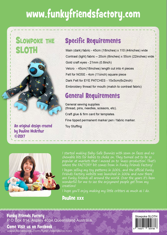 Slowpoke-the-Sloth-sewing-pattern-Funky-Friends-Factory-back