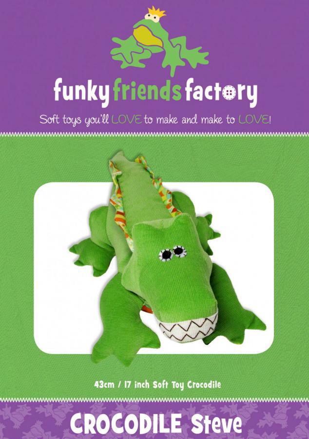 Crocodile or Alligator Steve sewing pattern Funky Friends Factory