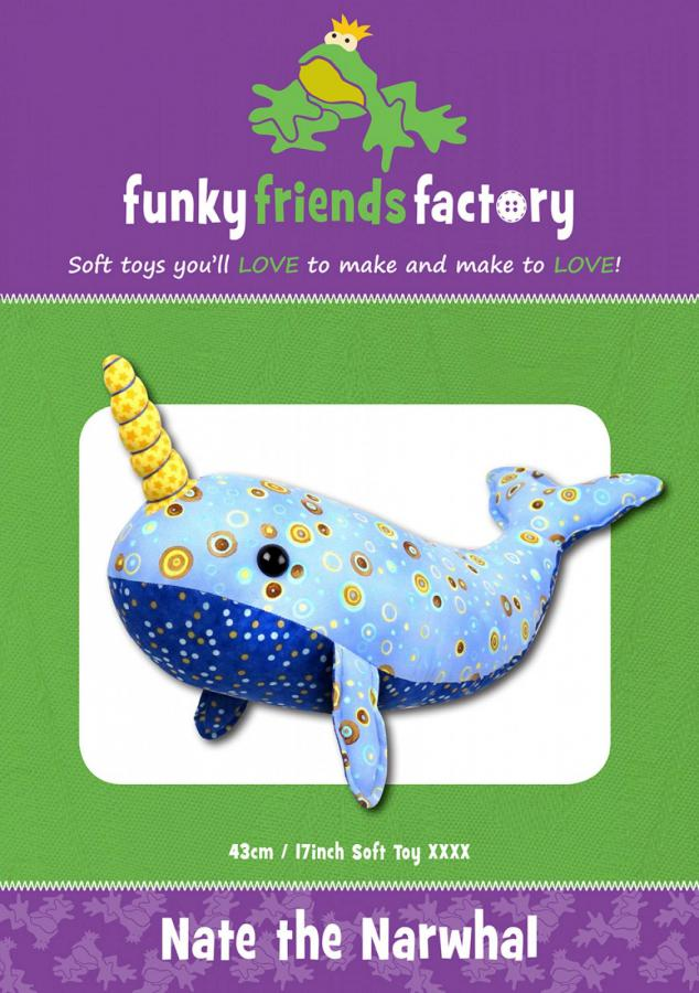 Nate The Narwhal sewing pattern Funky Friends Factory