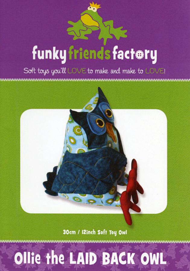 Ollie the Laid Back Owl sewing pattern Funky Friends Factory