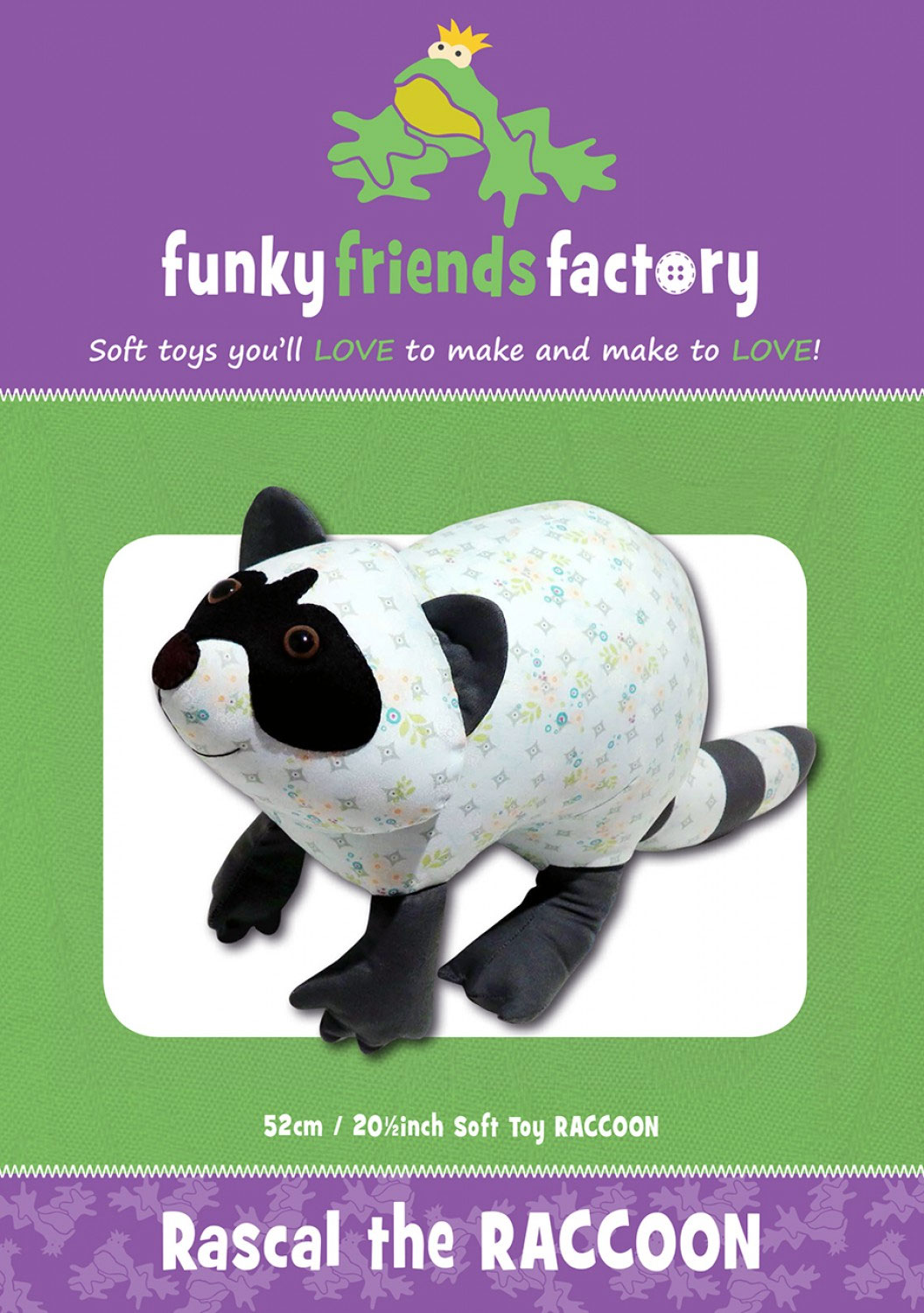Rascal The Raccoon Sewing Pattern Funky Friends Factory