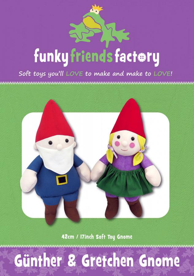 Gunther and Gretchen Gnome soft toy sewing pattern Funky Friends Factory