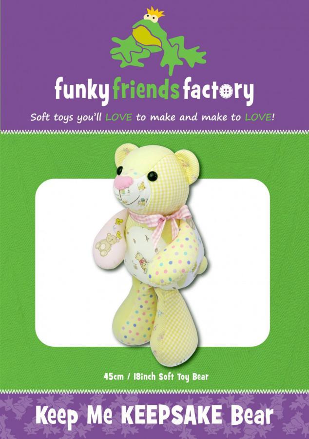 Keep Me Keepsake Bear soft toy sewing pattern Funky Friends Factory