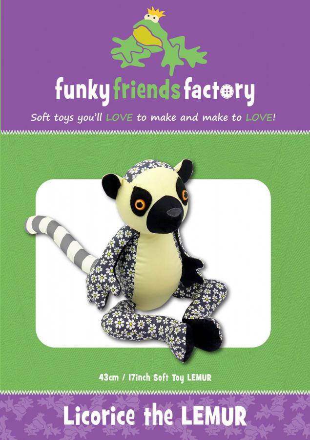 Licorice The Lemur sewing pattern Funky Friends Factory