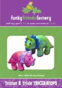 Trixie and Tristan Triceratops soft toy sewing pattern Funky Friends Factory