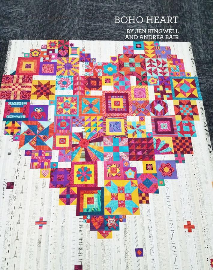 INVENTORY REDUCTION...Boho Heart quilt sewing booklet pattern by Jen Kingwell and Andrea Bair for Jen Kingwell Designs