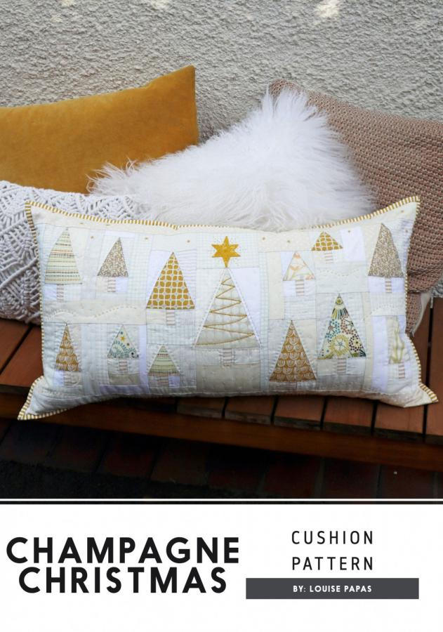 Champagne Christmas pillow cover sewing pattern by Louise Papas for Jen Kingwell Designs Collective