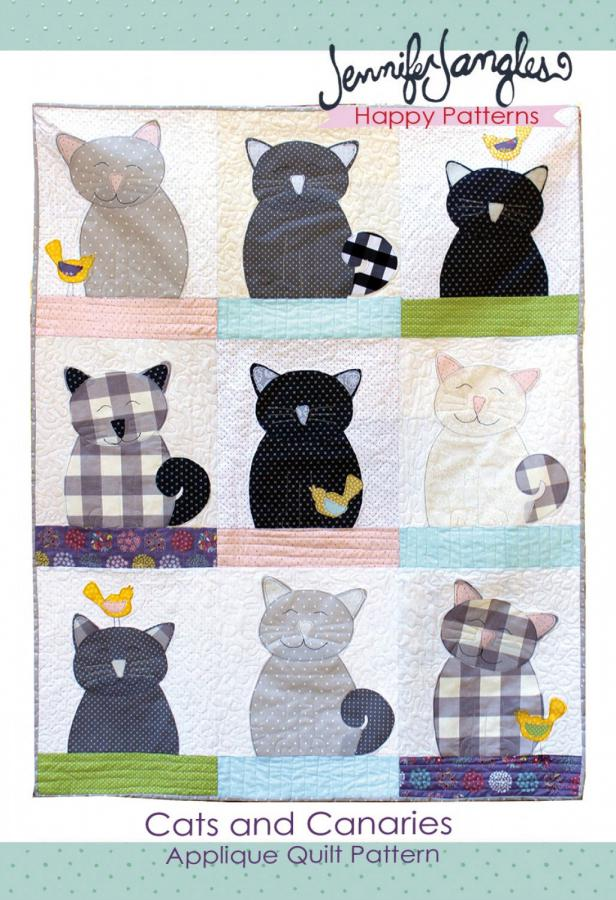 Cats and Canaries Applique quilt sewing pattern from Jennifer Jangles