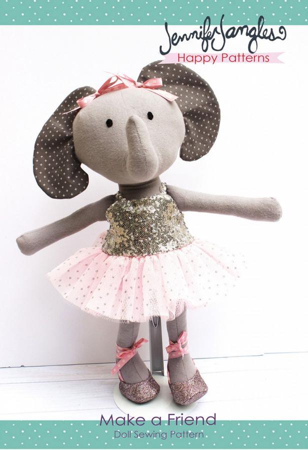 Elena the Ballerina Elephant Make a Friend doll sewing pattern from Jennifer Jangles