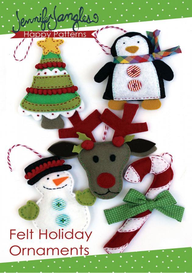 Felt Holiday Ornaments sewing pattern from Jennifer Jangles