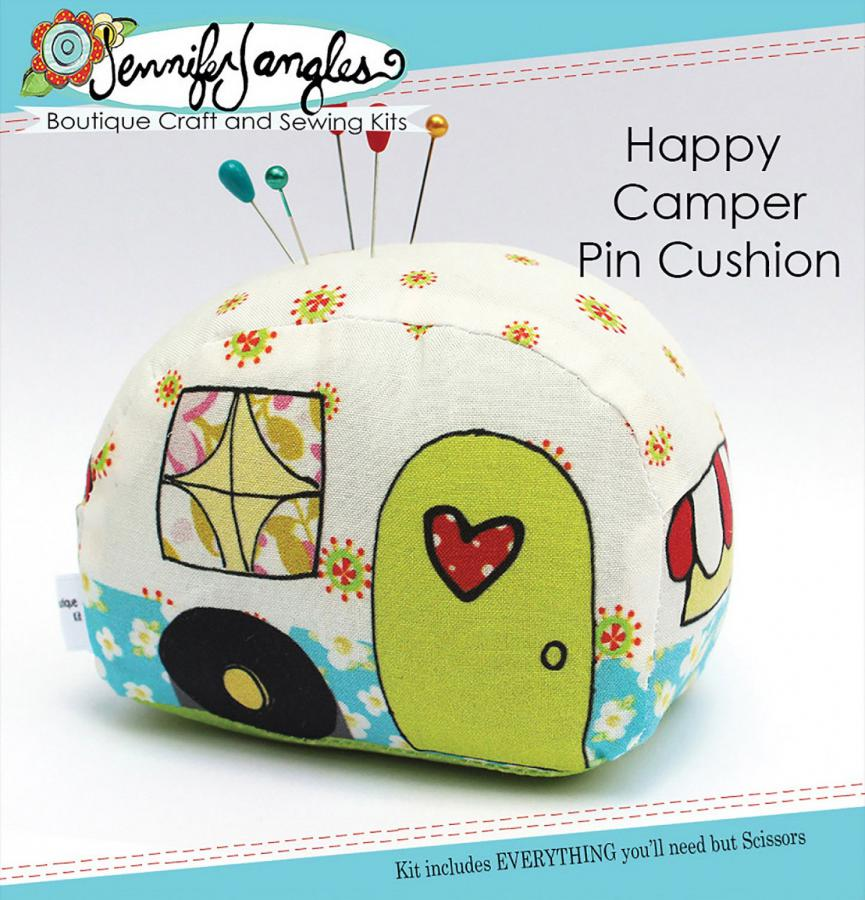 INVENTORY REDUCTION...Happy Camper Pincushion KIT & sewing pattern from Jennifer Jangles
