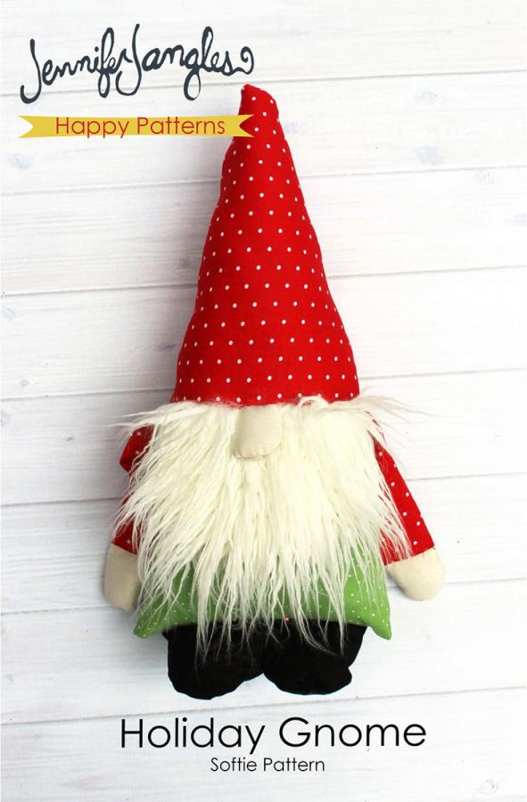 INVENTORY REDUCTION...Holiday Gnome Softie soft toy sewing pattern from Jennifer Jangles