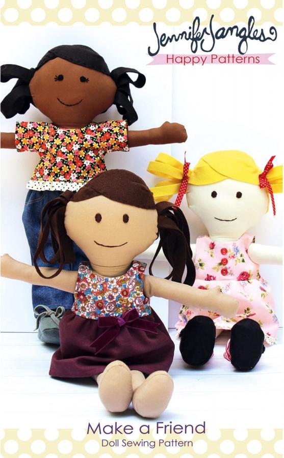 Make a Friend Doll sewing pattern from Jennifer Jangles
