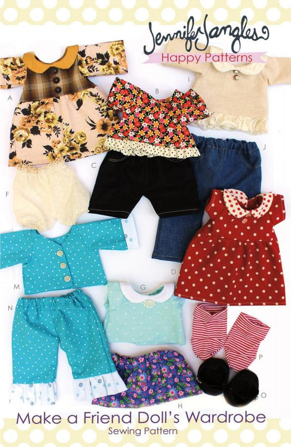 Make a Friend Doll Wardrobe sewing pattern from Jennifer Jangles