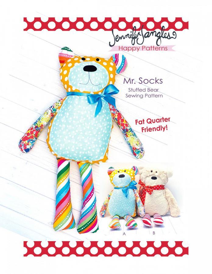 Mr. Socks Stuffed Bear soft toy sewing pattern from Jennifer Jangles