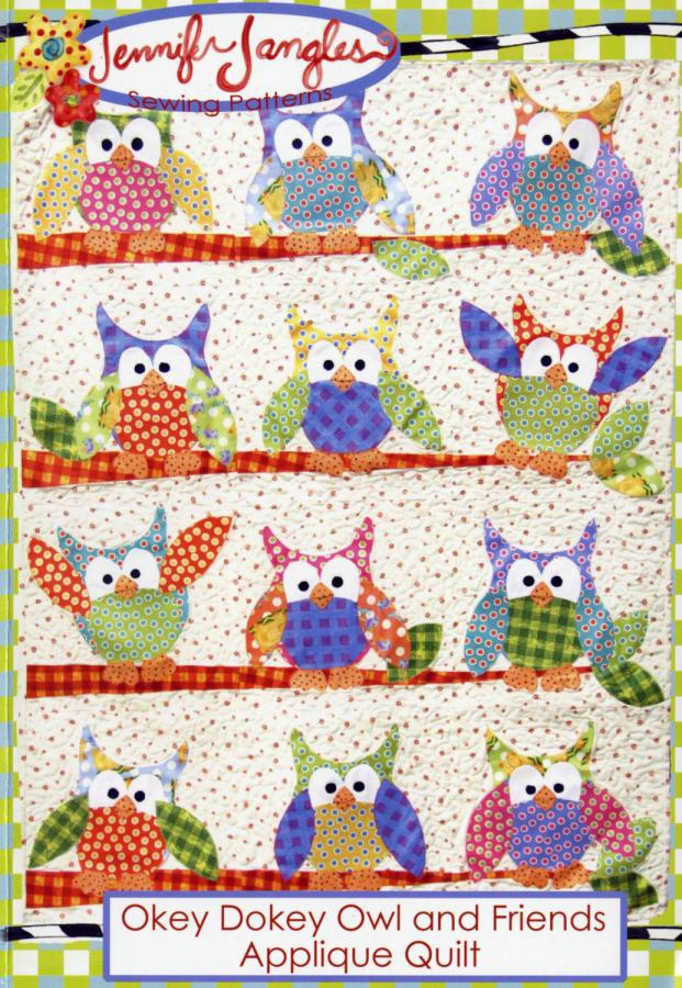 Okey Dokey Owl and Friends Applique quilt sewing pattern from Jennifer Jangles