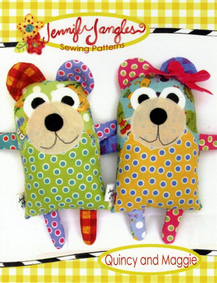 Quincy and Maggie soft toy sewing pattern from Jennifer Jangles