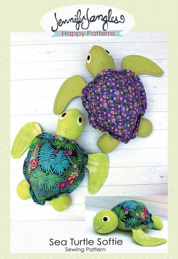 Sea Turtle Softie soft toy sewing pattern from Jennifer Jangles