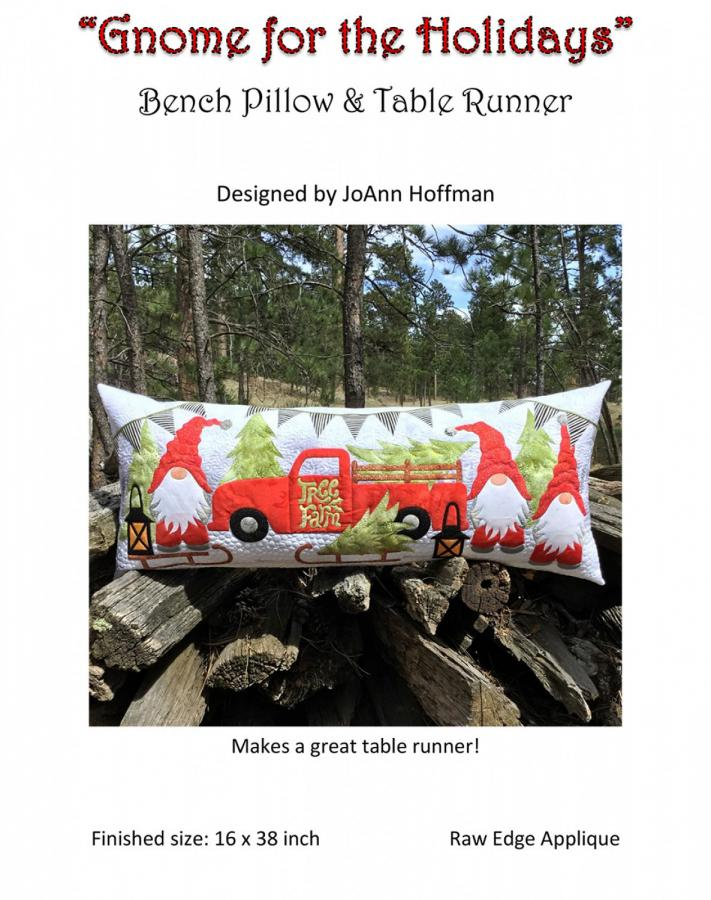Gnome for the Holidays Bench Pillow & Table Runner sewing pattern from JoAnn Hoffman Designs