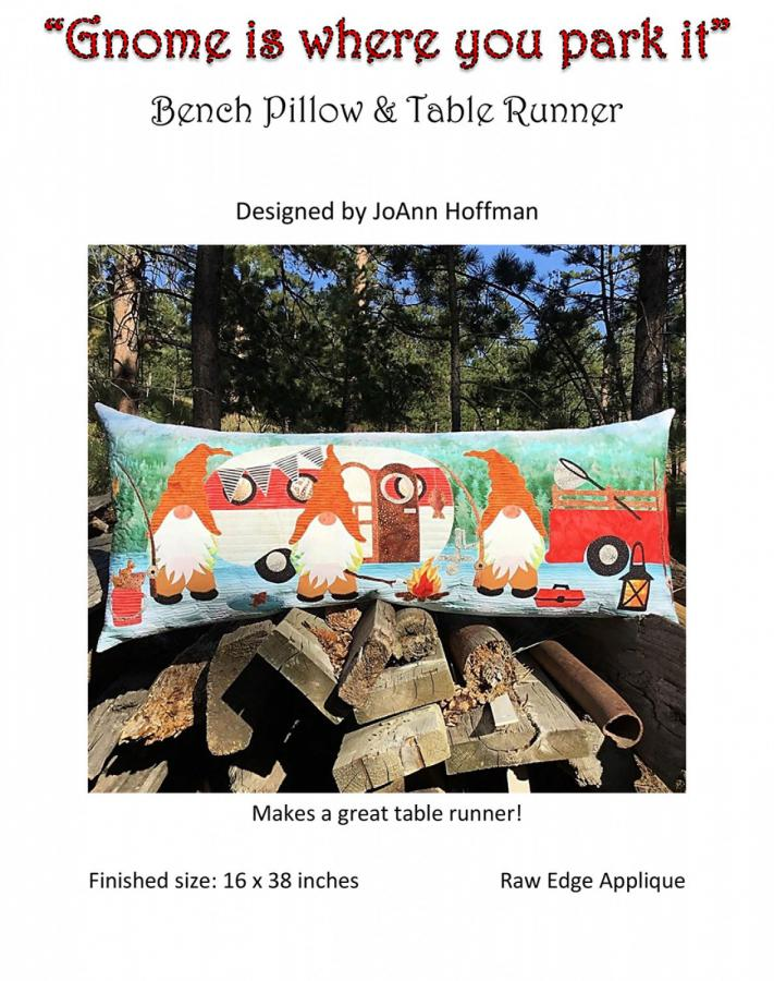 SPOTLIGHT SPECIAL...Gnome Is Where You Park It Table Runner & Bench Pillow sewing pattern from JoAnn Hoffman Designs