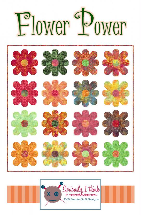 Flower Power quilt sewing pattern from Kelli Fannin Quilt Designs